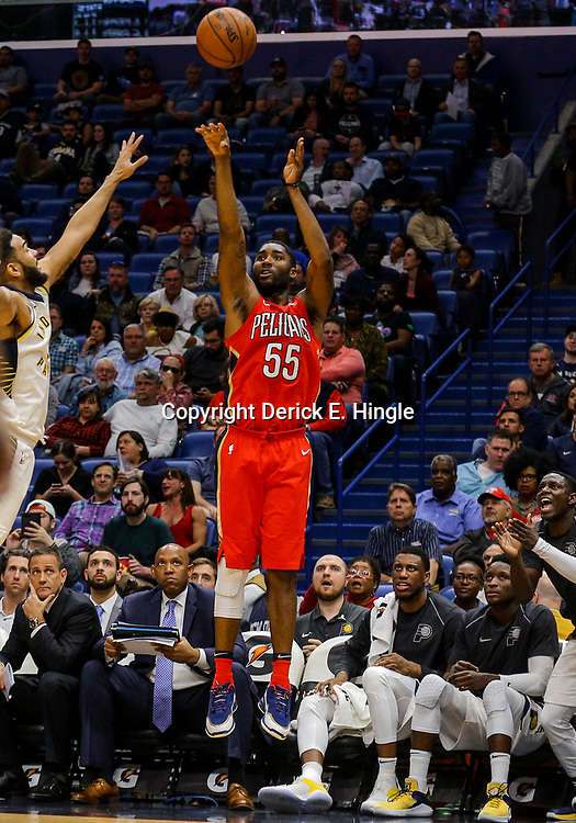 Mar 21, 2018; New Orleans, LA, USA; New Orleans Pelicans forward E'Twaun Moore (55) shoots against the Indiana Pacers during the second half at the Smoothie King Center. The Pelicans defeated the Pacers 96-92. Mandatory Credit: Derick E. Hingle-USA TODAY Sports