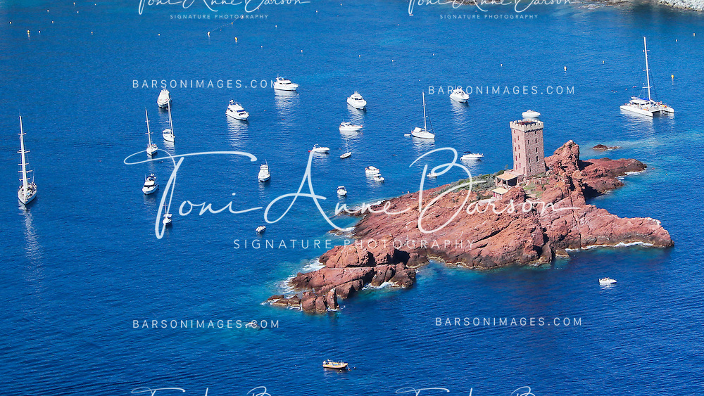 """SAINT RAPHAEL - FRANCE: Aerial View of Agay, """"Le Dramont"""" and"""" L'ile D'Or"""" in Saint Raphael on the French Riviera on September 16, 2012 - Photo by Tony Barson / BarsonImages"""
