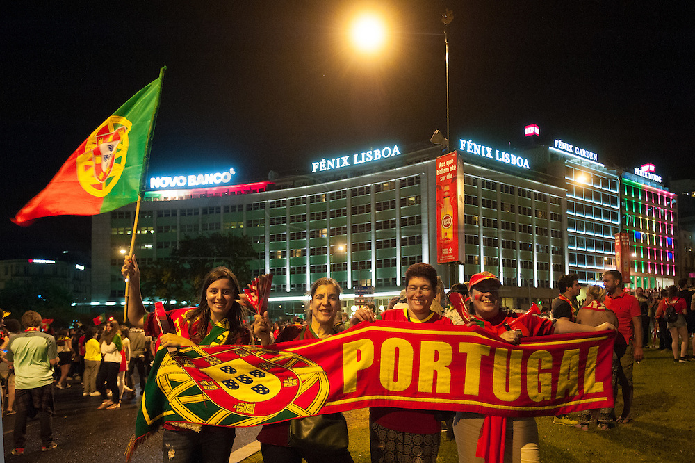 Portuguese celebrations shortly after the end of the  game between France and Portugal (0-1), where the Portuguese team conquered the European Football Championship for the first time.