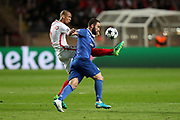 GONZALO HIGUAIN of Juventus duels for the ball with FABINHO of Monaco during the UEFA Champions League semi final football match, 1st leg, between AS Monaco and Juventus FC on May 3rd, 2017 at Louis II Stadium in Monaco - Photo Manuel Blondeau / AOP Press /