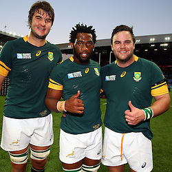 BIRMINGHAM, ENGLAND - SEPTEMBER 26:  Lodewyk de Jager with Siya Kolisi  and Frans Malherbe of South Africaduring the Rugby World Cup 2015 Pool B match between South Africa and Samoa at Villa Park on September 26, 2015 in Birmingham, England. (Photo by Steve Haag/Gallo Images)