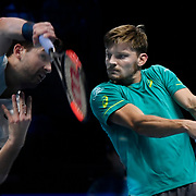 19.11.2017 Nitto ATP World Tour Finals at O2 Arena London UK FINAL Gregor Dimitrov BUL  v David Goffin BEL Dimitrov  Double exposure of both finalists during the match which was won by Dimitrov in 3 sets.