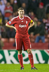 LIVERPOOL, ENGLAND - Wednesday, December 9, 2009: Liverpool's captain Steven Gerrard MBE looks dejected after losing 2-1 to AFC Fiorentina during the UEFA Champions League Group E match at Anfield. (Photo by David Rawcliffe/Propaganda)