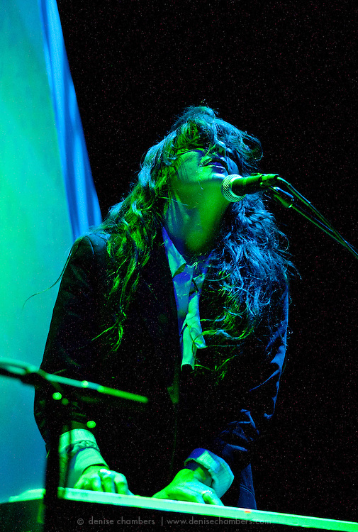 "Victoria Legrand of Beach House performs on September 3, 2010 in support of ""Teen Dream"" at Red Rocks Amphitheater in Morrison, Colorado."
