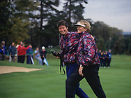 Mickey Walker (Captain) - England<br /> with the trophy<br /> Laura Davies<br /> The second Solheim Cup golf match took place from 2 October to 4 October 1992 at Dalmahoy Country Club, Edinburgh, Scotland. The European team beat the United States team 11&frac12; points to 6&frac12;, to win the trophy for the first time<br /> <br /> Picture Credit:  Mark Newcombe / www.visionsingolf.com