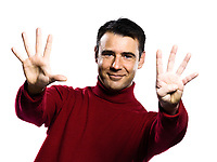 caucasian man 9 nine counting showing  fingers gesture studio portrait on isolated white backgound