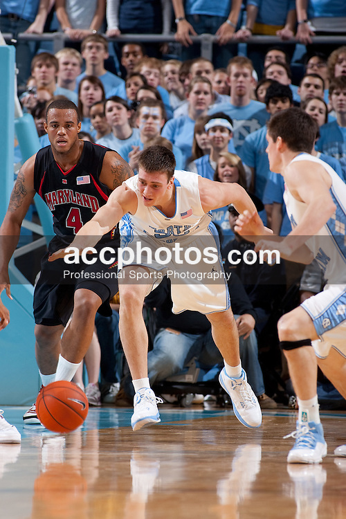 03 February 2009: North Carolina Tar Heels forward Tyler Hansbrough (50) during a 108-91 win over the Maryland Terrapins at the Dean Smith Center in Chapel Hill, NC.