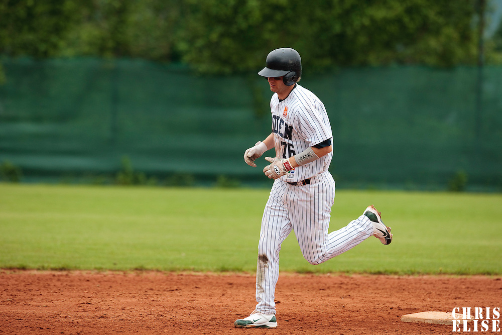 03 June 2010: Shortstop Aaron Hornostaj of Rouen runs the bases during the 2010 Baseball European Cup match won  8-4 by C.B. Sant Boi over the Rouen Huskies, at the Kravi Hora ballpark, in Brno, Czech Republic.