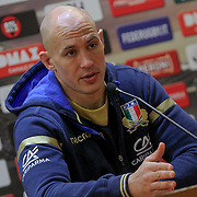 Roma 16/03/2018 Stadio Olimpico<br /> Natwest 6 nations Italia vs Scozia<br /> Captain's Run Italia<br /> Sergio Parisse durante la conferenza stampa