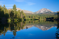 Mt. Lassen is reflected in Manzanita Lake at sunset, Lassen National Park, California