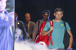 November 18, 2017 - London, England, United Kingdom - Belgium's David Goffin comes onto the court to play Switzerland's Roger Federer during their men's singles semi-final match on day seven of the ATP World Tour Finals tennis tournament at the O2 Arena in London on November 18, 2017. (Credit Image: © Alberto Pezzali/NurPhoto via ZUMA Press)