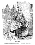 "Wanted. William the Gallant (to Holland). ""Courage! I will never desert you."" (Wilhelm II hides behind the skirts of Holland as John Bull and France as policemen approach to take him away at the end of WW1)"