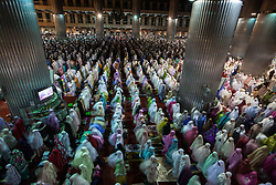 May 5, 2019 - Jakarta, Jakarta, Indonesia - A slow shutter speed picture shows Indonesian Muslim women performing an evening prayer called tarawih, the night before the start of the holy fasting month of Ramadan, at Istiqlal mosque in Jakarta, Indonesia, 05 May 2019. Muslims are preparing for the Muslim holy fasting month of Ramadan that is expected to start on 06 May 2019 in most countries. Ramadan is celebrated with prayers and readings from the Koran as muslims fast from eating, drinking, smoking and all sexual relations from dawn till dusk. (Credit Image: © Afriadi Hikmal/ZUMA Wire)