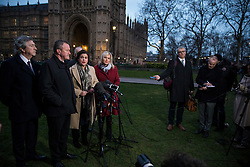 © Licensed to London News Pictures. 21/02/2018. London, UK. Sinn Féin President Mary Lou McDonald (centre of left group), Sinn Féin Vice President Michelle O'Neill MLA (right of left group) and other Sinn Fein representatives give a statement to the press after meeting with Prime Minister Theresa May. Photo credit: Rob Pinney/LNP