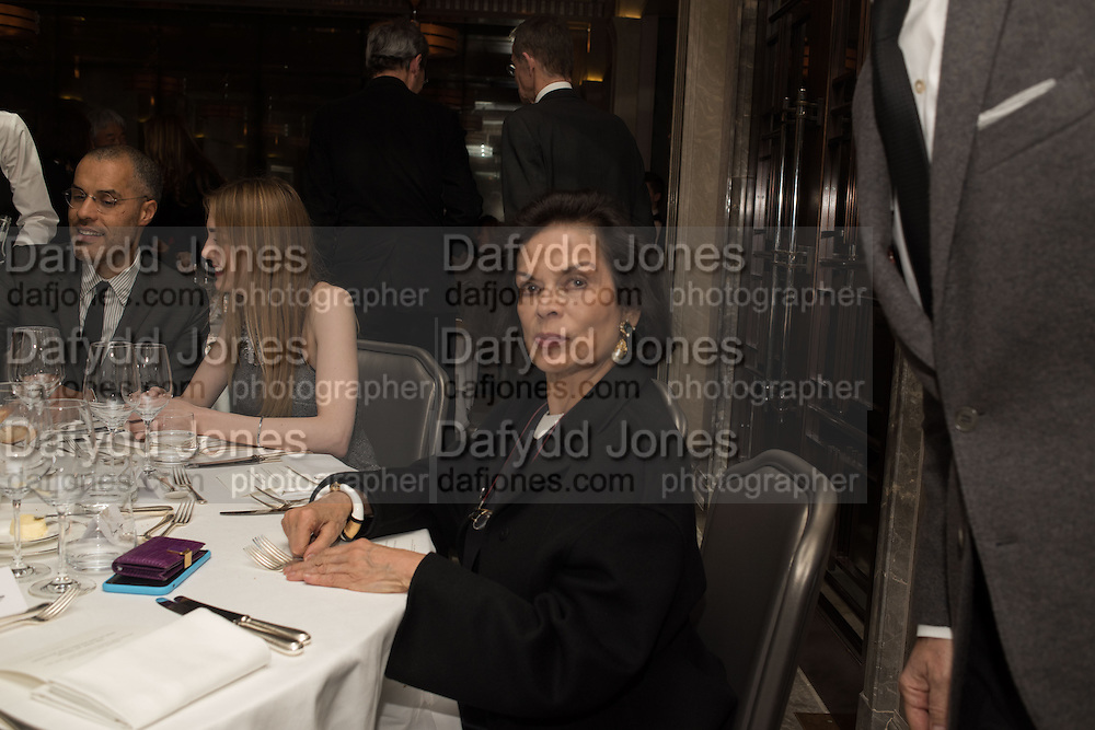 BIANCA JAGGER, , Anish Kapoor and Lee Ufan preview dinner hosted by the Lisson Gallery after the opening on Bell St. The Connaught. London. 23 March 2015