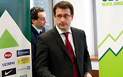 Head coach Slavisa Stojanovic and Ales Zavrl, secretary general during press conference of the Football Association of Slovenia (NZS – Nogometna zveza Slovenije), on November 7, 2011, in NZS, Crnuce, Ljubljana, Slovenia.  (Photo by Vid Ponikvar / Sportida)