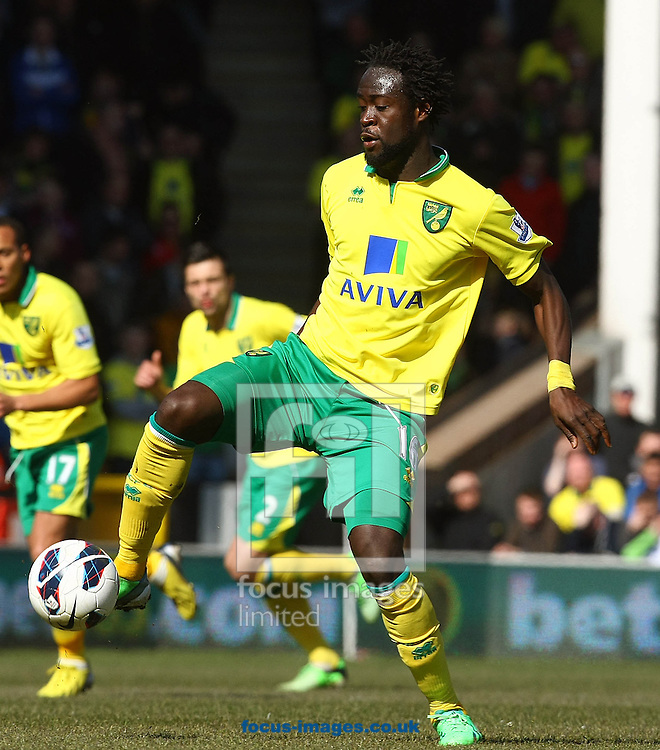 Picture by Paul Chesterton/Focus Images Ltd +44 7904 640267.06/04/2013.Kei Kamara of Norwich in action during the Barclays Premier League match at Carrow Road, Norwich.