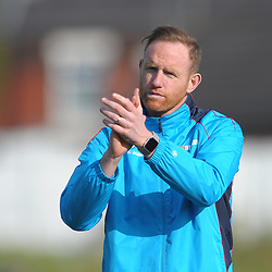 TELFORD COPYRIGHT MIKE SHERIDAN 6/4/2019 - Telford boss Gavin Cowan applauds the travelling support during the Vanarama Conference North fixture between Chorley FC and AFC Telford United at Victory Park
