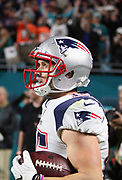 New England Patriots wide receiver Chris Hogan (15) looks wide eyed at an official for a ruling after stepping out of bounds for an incomplete pass on a late fourth quarter drive during the 2017 NFL week 14 regular season football game against the Miami Dolphins, Monday, Dec. 11, 2017 in Miami Gardens, Fla. The Dolphins won the game 27-20. (©Paul Anthony Spinelli)