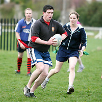 Roy Duggan in action at the Training session at Ennis Rugby Grounds for the Tag Rugby league which will begin on 23rd May.<br /> <br /> Photograph by Eamon Ward