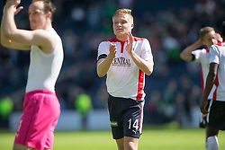 Falkirk's Peter Grant cele at the end of the game. <br /> Hibernian 0 v 1 Falkirk, William Hill Scottish Cup semi-final, played 18/4/2015 at Hamden Park, Glasgow.