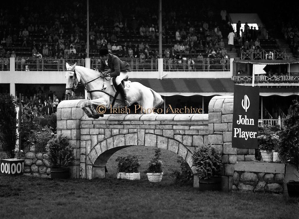 """07/08/1980<br /> 08/07/1980<br /> 07 August 1980<br /> R.D.S. Horse Show: John Player International, Ballsbridge, Dublin. Sonke Sonksen (Germany) on """" Kwept""""."""