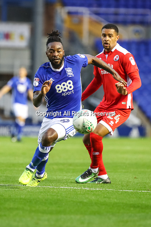 August 8th 2017, St Andrews, Birmingham, England; Carabao Cup First Round; Birmingham City versus Crawley Town; Jacques Maghoma of Birmingham City FC gets to the loose ball first