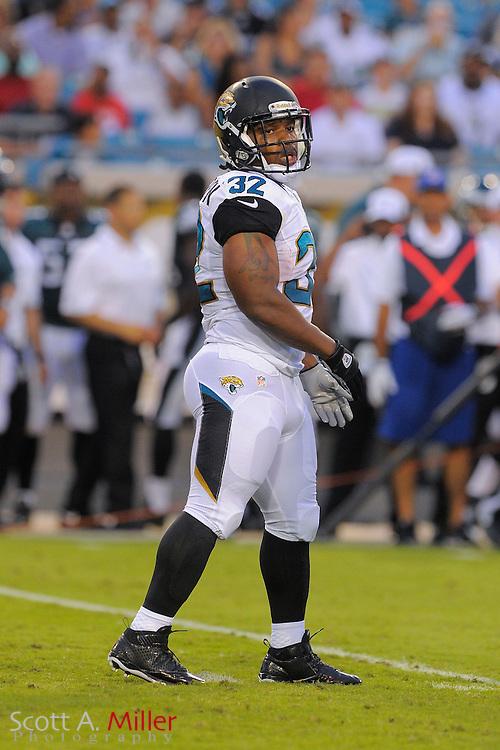Jacksonville Jaguars running back Maurice Jones-Drew (32) during a preseason NFL game against the Philadelphia Eagles at EverBank Field on Aug. 24, 2013 in Jacksonville, Florida. The Eagles won 31-24.<br /> <br /> &copy;2013 Scott A. Miller