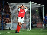 Gilles Grimandi holds his head is dispair as his header goes wide. Chelsea 2:2 Arsenal, F.A. Carling Premiership, 6/9/2000. Credit: Colorsport / Stuart MacFarlane.