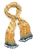 Gold and blue scarf on white background