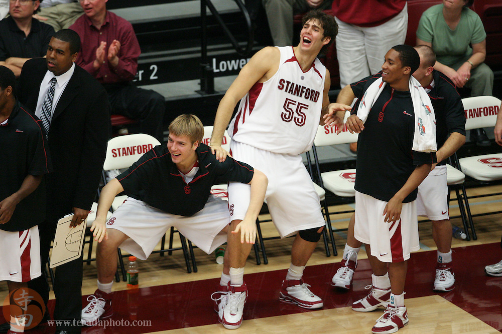 January 31, 2007; Stanford, CA, USA; Stanford Cardinal forward Will Paul (34, left), center Peter Prowitt (55), and guard Carlton Weatherby (3, right) celebrate during the game against the Gonzaga Bulldogs at Maples Pavilion. The Bulldogs defeated the Cardinal 90-86.