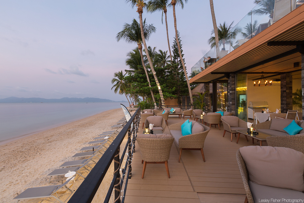 Lower terrace at Sea and Sky beach front restaurant located on Ban Tai beach, Koh Samui, Thailand