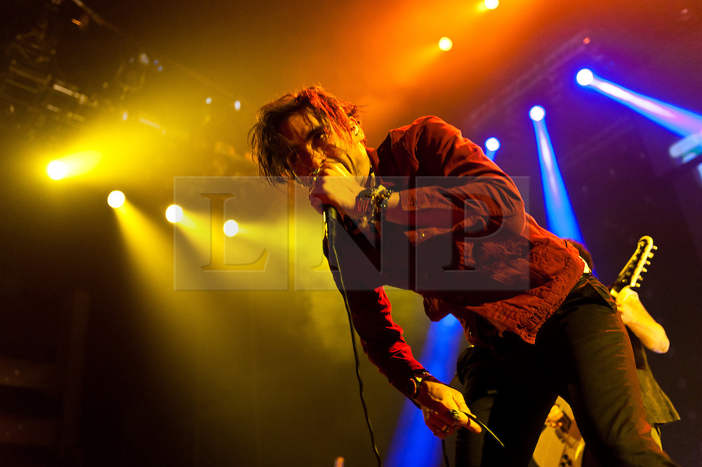 © Licensed to London News Pictures. 09/06/2012. London, UK. The All American Rejects perform live at The O2 Arena, London, supporting headliners Blink-182.  The All-American Rejects is an American alternative rock band formed in Stillwater, Oklahoma in 1999.. The band consists of lead vocalist and bass guitarist Tyson Ritter, lead guitarist and backing vocalist Nick Wheeler, rhythm guitarist and backing vocalist Mike Kennerty, and drummer and percussionist Chris Gaylor.  Photo credit : Richard Isaac/LNP