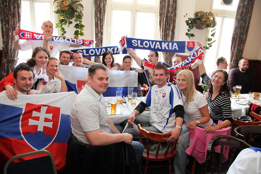 Slovakia v Paraguayat U vrany, Willesden Green.<br /> <br /> <br /> Copyright: Jonathan GoldbergWorld Cup 2010 watched  on London TV<br /> Slovakia v Paraguay, U Vrany, Willesden