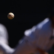 The baseball in mid flight from a pitcher during the Bridgeport Bluefish V Southern Maryland Blue Crabs, Atlantic League, Minor League ballgame at Harbor Yard Ballpark, Bridgeport, Connecticut, USA. Photo Tim Clayton