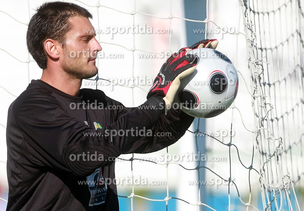 Goalkeeper of Rudar Boban Savic at 6th Round of PrvaLiga Telekom Slovenije between NK Primorje Ajdovscina vs NK Rudar Velenje, on August 24, 2008, in Town stadium in Ajdovscina. Primorje won the match 3:1. (Photo by Vid Ponikvar / Sportal Images)