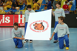 Flag of Team Chehovskie Medvedi at handball match RK Cimos Koper vs Chehovskie Medvedi (RUS) in E group of EHF Champions league Men 2008/2009, on October 4, 2008 in Arena Bonifika, Koper, Slovenia. Chehovskie Medvedi won 35:28. (Photo by Vid Ponikvar / Sportal Images)
