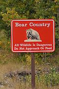 Sign, Warning Sign, Grizzly Bear Warning Sign, Glacier National Park, Montana