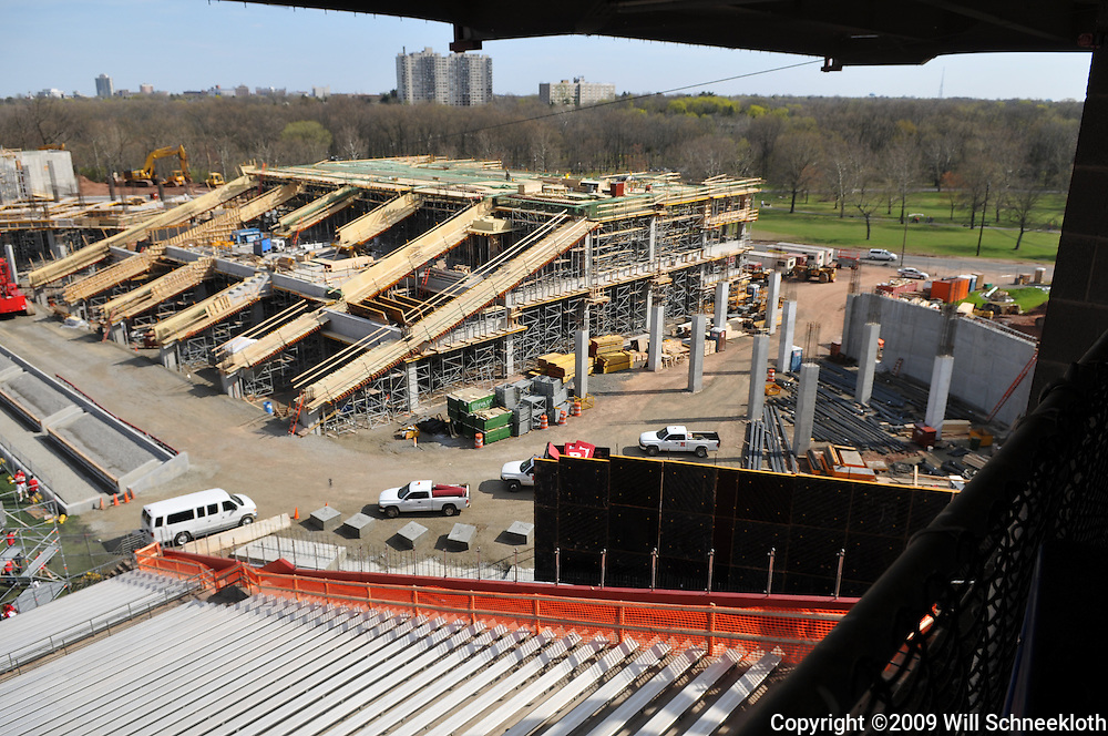Apr 18, 2009; Piscataway, NJ, USA; Construction of the south endzone stands at Rutgers Stadium continues, with plans calling for the seats to be ready for the kickoff in the fall.