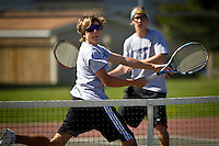 Lake City High's double teammates Dimitri Christo and Matt Gencarella keep an eye on their opponents after making a play at the net Saturday during the 5A Region 1 tournament.