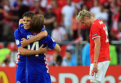 Ognjen Vukojevic holds Luka Modric of Croatia after the UEFA EURO 2008 Group B soccer match between Austria and Croatia at Ernst-Happel Stadium, on June 8,2008, in Vienna, Austria.  (Photo by Vid Ponikvar / Sportal Images)