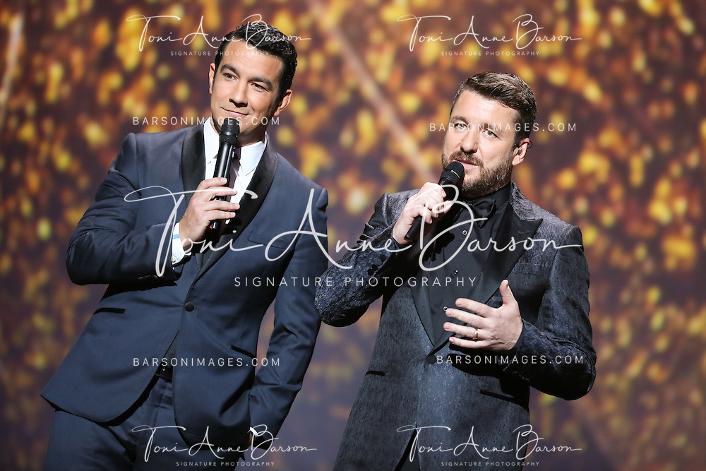 "PARIS, FRANCE - FEBRUARY 10:  Thomas Thouroude and Bruno Guillon host the ""32nd Victoires de la Musique 2017"" at Le Zenith on February 10, 2017 in Paris, France.  (Photo by Tony Barson/FilmMagic)"