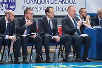 Estudiantes coach Salva Maldonado during Basketball Champions League between Estudiantes and Rosa Radom at Jorge Garbajosa Sport Center in Madrid, Spain October 18, 2017. (ALTERPHOTOS/Borja B.Hojas)