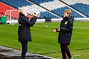 Scotland Head Coach Shelley Kerr and First Minister Nicola Sturgeon (Patron on the Scotland Womens National Team) with some head 7 catch practice during the press conference for the Scotland Women's team World Cup Funding Announcement held at Hampden Park, Glasgow, United Kingdom on 26 September 2018.