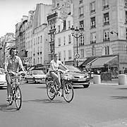 A street scene in Paris, France showing Velib bikes, a large scale public biking system in Paris France. 28th February 2011. Photo Tim Clayton