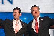 TAMPA, FL - August 30, 2012 - Presidential nominee Mitt Romney and vice presidential nominee Rep. Paul Ryan after remarks by presidential nominee Mitt Romney on the final night of the 2012 Republican National Convention.