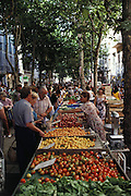 Outdoor market vendors sell fresh fruit and vegetables. Toulous, France.