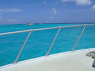 bow and railing of boat in grand cayman