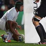 French Captain Thierry Dusautoir scores a try during the New Zealand V France Final at the IRB Rugby World Cup tournament, Eden Park, Auckland, New Zealand. 23rd October 2011. Photo Tim Clayton...