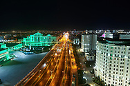 Ashgabat, Turkmenistan - 2017 September 22: Prosperity Avenue (former Moscow Avenue) near Ashgabat Olympic Complex while 2017 Ashgabat 5th Asian Indoor & Martial Arts Games on September 22, 2017 in Ashgabat, Turkmenistan.<br /> <br /> Mandatory credit:<br /> Photo by © Adam Nurkiewicz<br /> <br /> Adam Nurkiewicz declares that he has no rights to the image of people at the photographs of his authorship.<br /> <br /> Picture also available in RAW (NEF) or TIFF format on special request.<br /> <br /> Any editorial, commercial or promotional use requires written permission from the author of image.